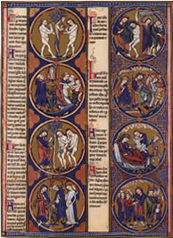Extract of illustrated manuscript taken from the Bible of Saint Louis